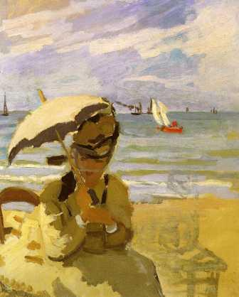 Camille Monet on the Beach at Trouville